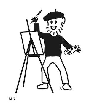 Man målar
