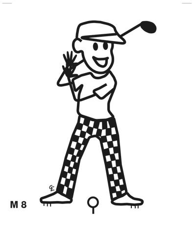 Man spelar golf – Funky Family – dekaler i unika karaktärer