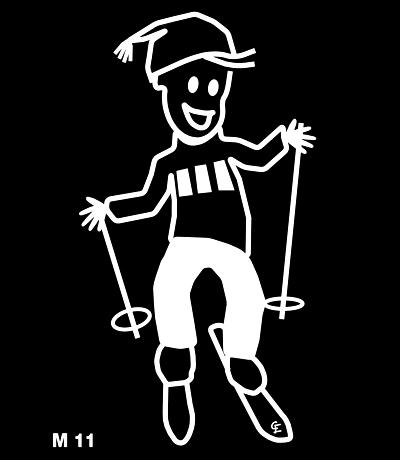 Man på skidor – Funky Family – dekaler i unika karaktärer