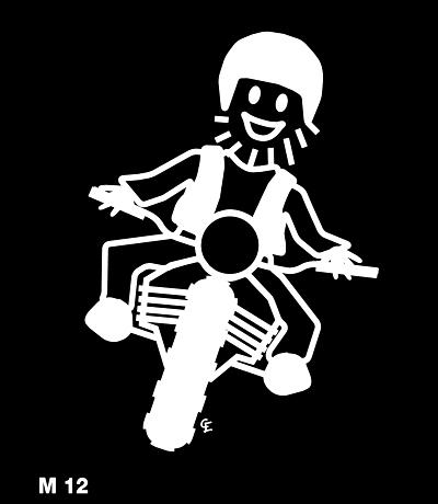 Man på motorcykel – Funky Family – dekaler i unika karaktärer