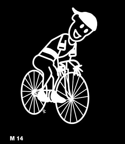 Man på cykel – Funky Family – dekaler i unika karaktärer