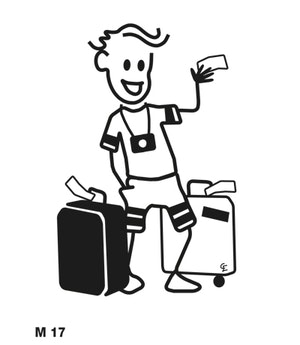 Man med resväskor