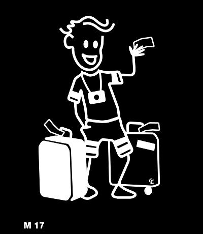 Man med resväskor – Funky Family – dekaler i unika karaktärer