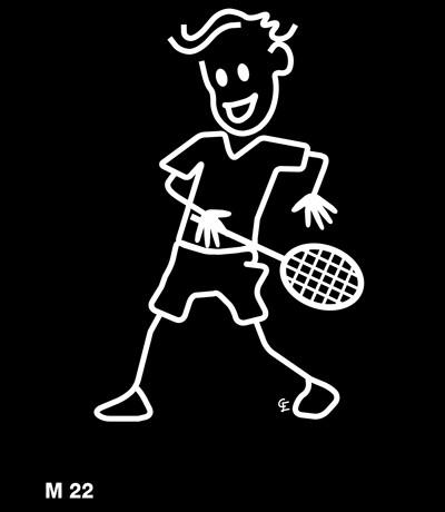 Man som spelar tennis – Funky Family – dekaler i unika karaktärer
