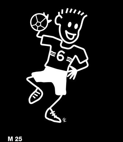 Man som spelar handboll – Funky Family – dekaler i unika karaktärer
