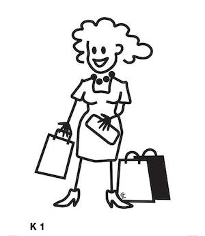 Kvinna med shoppingpåsar