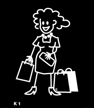 Kvinna med shoppingpåsar  – Funky Family – dekaler i unika karaktärer