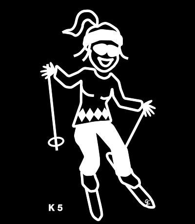 Kvinna på skidor – Funky Family – dekaler i unika karaktärer