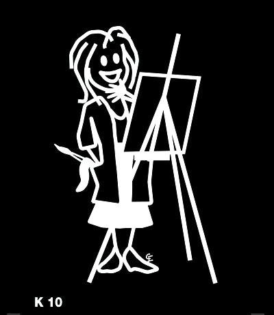 Kvinna målar – Funky Family – dekaler i unika karaktärer