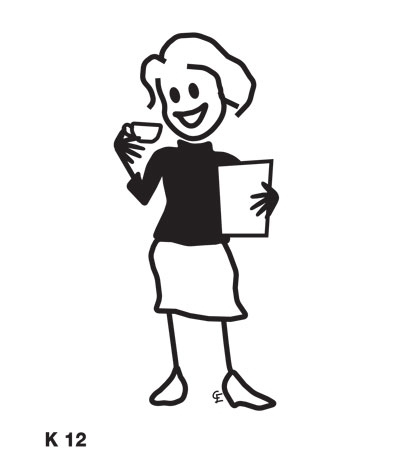 Kvinna med kaffe – Funky Family – dekaler i unika karaktärer