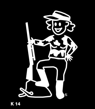Kvinna som jagar – Funky Family – dekaler i unika karaktärer