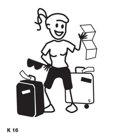 Kvinna med resväskor – Funky Family – dekaler i unika karaktärer