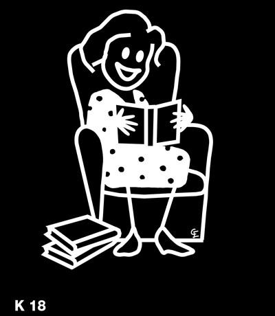 Kvinna som läser – Funky Family – dekaler i unika karaktärer