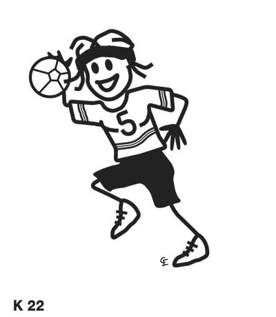 Kvinna som spelar handboll – Funky Family – dekaler i unika karaktärer