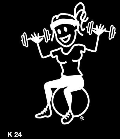 Kvinna som tränar – Funky Family – dekaler i unika karaktärer