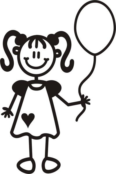 Ung flicka med ballong - The sticker family - dekaler i unika karaktärer