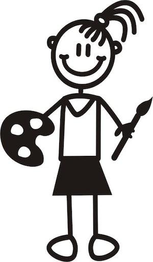 Flicka med målarpensel