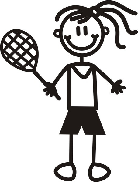 Flicka med tennisracket - The sticker family - dekaler i unika karaktärer