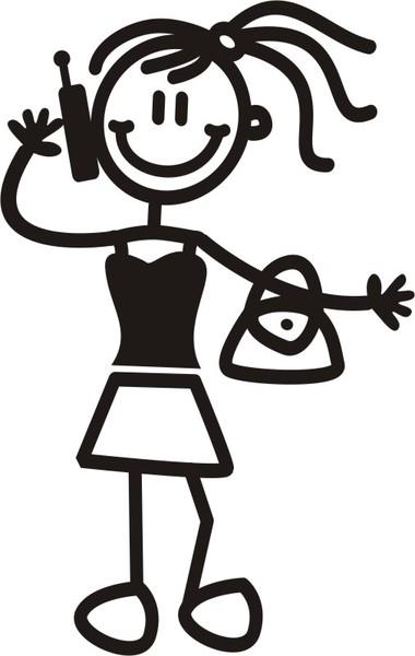 Äldre flicka handväska och mobil - The sticker family - dekaler i unika karaktärer