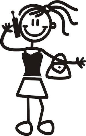 Äldre flicka handväska och mobil