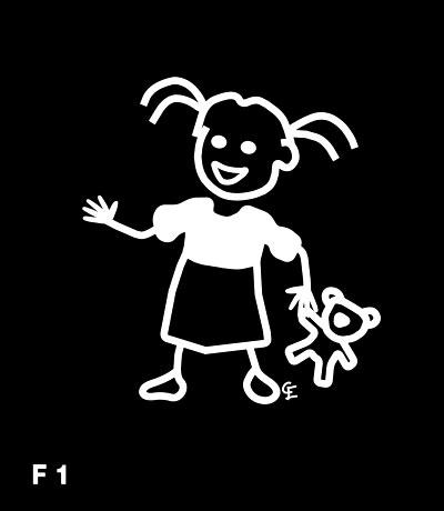 Flicka med docka – Funky Family – dekaler i unika karaktärer