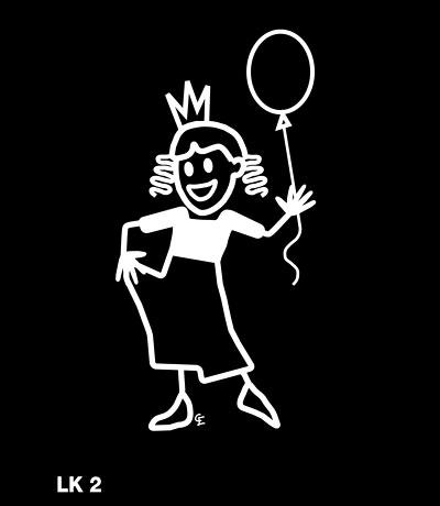 Flicka i prinsessklänning – Funky Family – dekaler i unika karaktärer