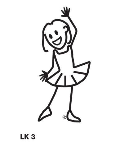 Flicka i ballerinadräkt – Funky Family – dekaler i unika karaktärer