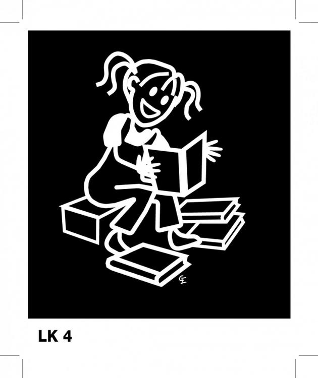 Flicka läser – Funky Family – dekaler i unika karaktärer