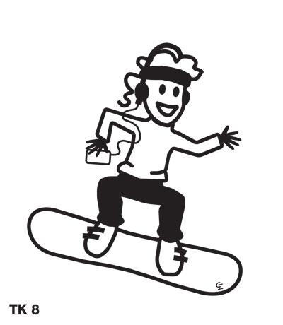 Tjej på snowboard