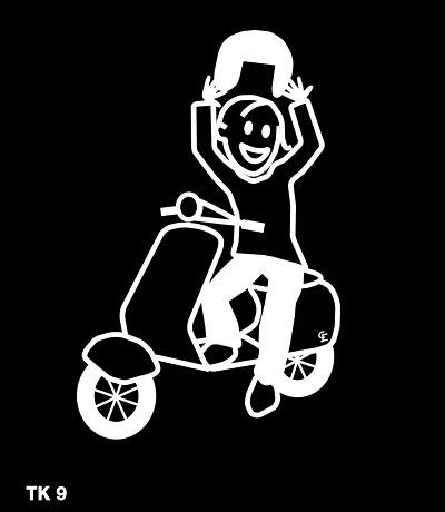 Tjej med moped – Funky Family – dekaler i unika karaktärer