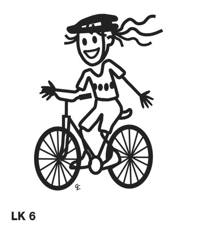 Flicka på cykel – Funky Family – dekaler i unika karaktärer