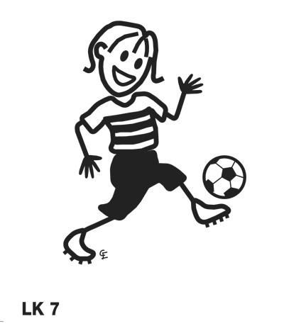 Flicka som spelar fotboll – Funky Family – dekaler i unika karaktärer