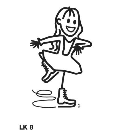 Flicka på skridskor – Funky Family – dekaler i unika karaktärer