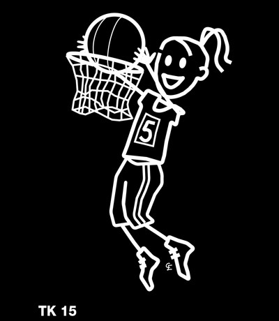 Tjej som spelar basket – Funky Family – dekaler i unika karaktärer