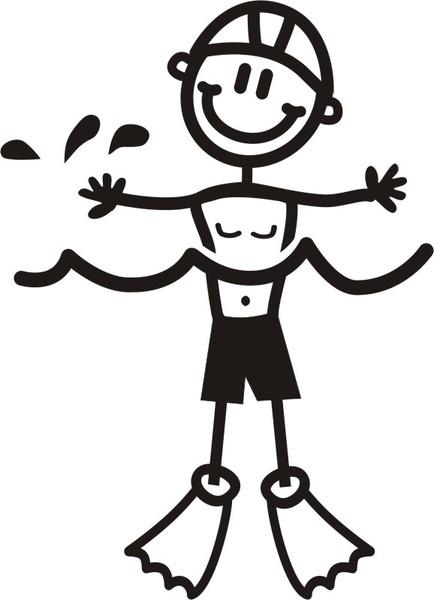 Pojke simmar - The sticker family - dekaler i unika karaktärer