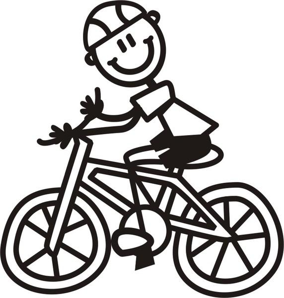 Pojke på cykel - The sticker family - dekaler i unika karaktärer