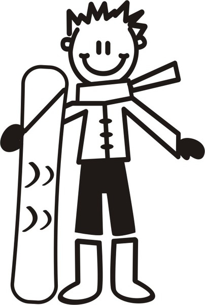 Äldre Pojke med snowboard - The sticker family - dekaler i unika karaktärer