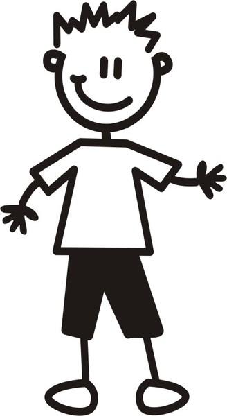 Äldre Pojke i vanliga kläder - The sticker family - dekaler i unika karaktärer