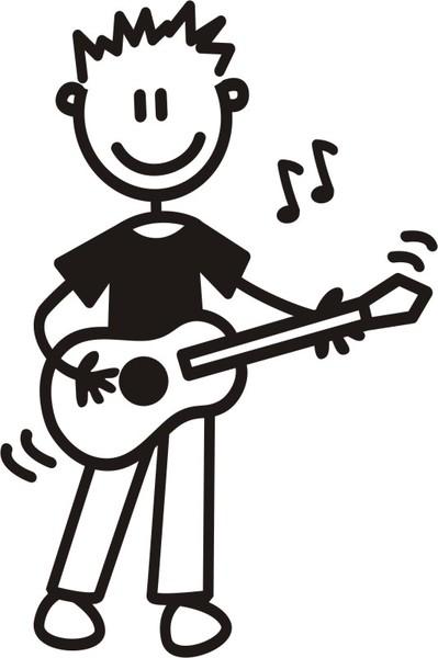 Äldre Pojke spelar gitarr - The sticker family - dekaler i unika karaktärer