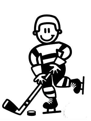 Äldre Pojke spelar hockey - The sticker family - dekaler i unika karaktärer