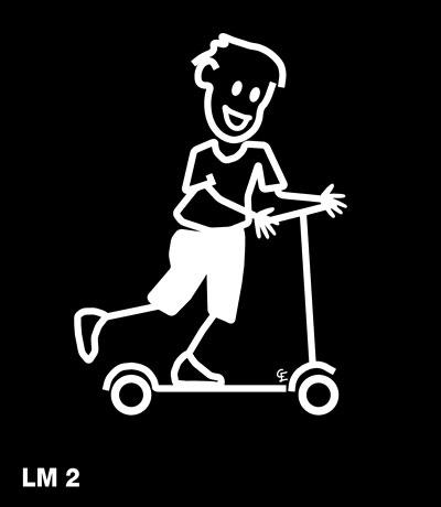 Pojke på sparkcykel – Funky Family – dekaler i unika karaktärer