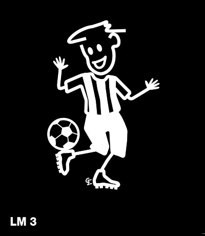 Pojke spelar fotboll – Funky Family – dekaler i unika karaktärer