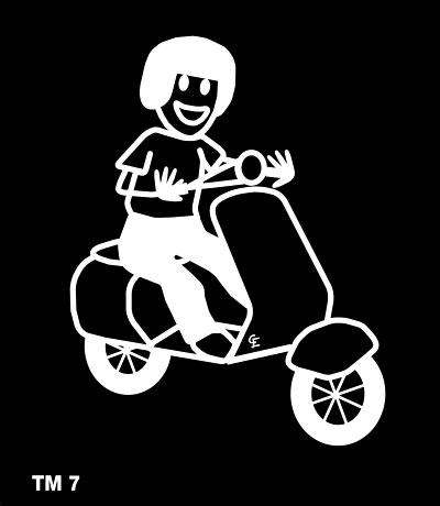 Kille med moped - Funky Family - dekaler i unika karaktärer