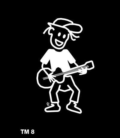 Kille med gitarr - Funky Family - dekaler i unika karaktärer