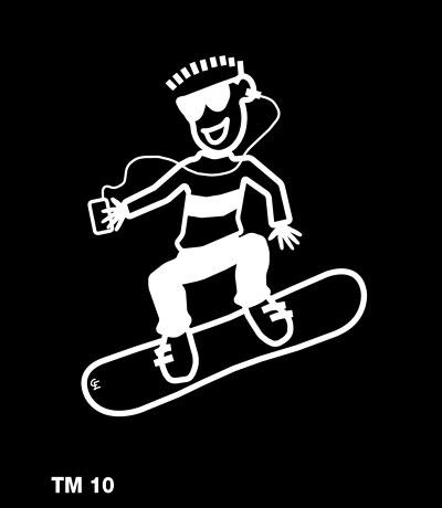 Kille på snowboard - Funky Family - dekaler i unika karaktärer
