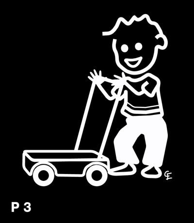 Pojke med gåvagn - Funky Family - dekaler i unika karaktärer