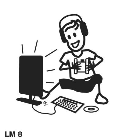 Pojke spelar TV/datorspel - Funky Family - dekaler i unika karaktärer