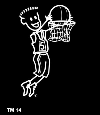 Kille som spelar basket - Funky Family - dekaler i unika karaktärer