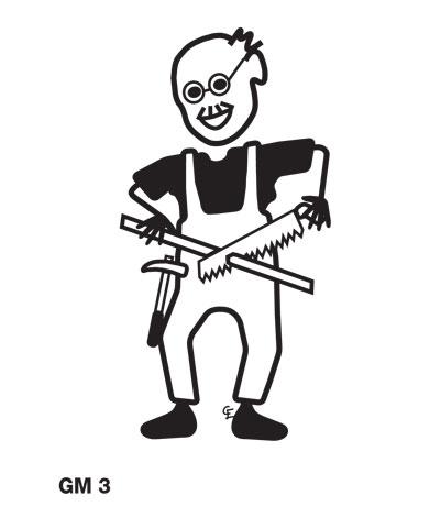 Äldre man med snickarverktyg