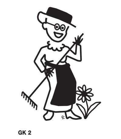 Äldre kvinna i trädgården - Funky Family - dekaler i unika karaktärer